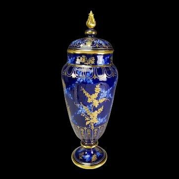 c1890 LARGE Pirkenhammer Blue White Elegant Gilt Porcelain Lidded Vase