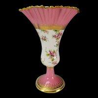 Antique Jeweled Copeland Spode Hand Painted Roses Flared Porcelain Vase