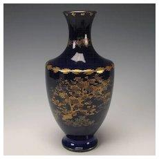 Antique Meiji Japanese Satsuma Cobalt Blue Pottery Vase Signed Kinkozan