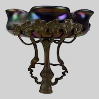 Antique Bohemian Czech Iridescent Jugendstil Bronze Mounted Glass Bowl