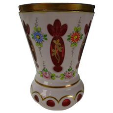 Vintage Bohemian Czech Art Deco era Cased Enamel over Cranberry Glass Vase
