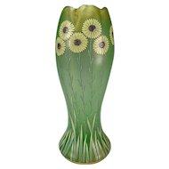 Antique Fritz Heckert Enameled Daisies Iridescent Tall Glass Vase c1900