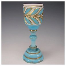Antique Russian or Bohemian Cased/Cut Blue Overlay Glass Chalice Goblet Wine