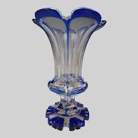 Antique Russian Imperial or Biedermeier Bohemian Cobalt Blue Cut to Clear Glass Vase