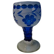 Vintage Bohemian Czech Cased Enamel Cut to Cobalt Faced Wine Glass