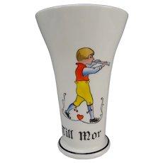 Arts Crafts Swedish Till Mor Elegant Enamel Painted Glass Vase