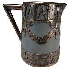 Antique German Miniature Porcelain Silver Overlay Jug Pitcher