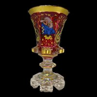 c1850 Bohemian Harrach Cranberry Enameled Glass Pokal Vase