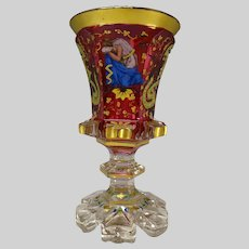 c1850 Bohemian Harrach Cranberry Enameled Glass Pokal Vase