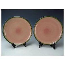 2 Large Edith Heath Ceramics Pottery Dinner Plate in Peacock Coupe Pair