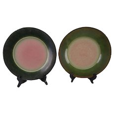 Vintage Edith Heath Ceramics Rose Peacock Dinner Plate Pair
