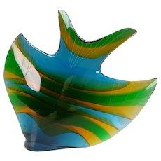 Exbor Czech Sommerso Large Glass Fish Sculpture by Rozinek Honzik