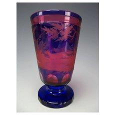 Antique Egermann Double Cased Cut Engraved Black Forest Glass Vase Pfohl