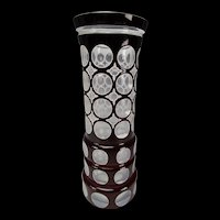 Large Bohemian Oertel Haida Amethyst Cased Cut Polished Art Glass Vase c1930