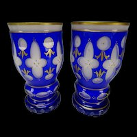 Pair c1920s Bohemian Czech Cased Cut Glass Beaker Vases