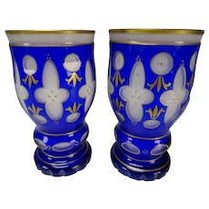 Pair c1920s Bohemian Czech Cased Cut Glass Beakers Vases