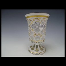 Gothic Cut Overlay Moser Bohemian Glass Vase c1850