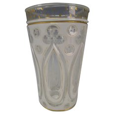 Antique Bohemian Gothic Cased Cut Gothic Paneled Glass Tumbler or Vase
