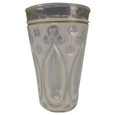 Antique Bohemian Gothic Cased Cut Gothic Paneled Glass Tumbler or Vase