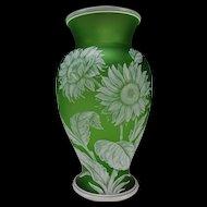Fine Antique Webb GEM Cased Cut Sunflowers Cameo White to Green Glass Vase