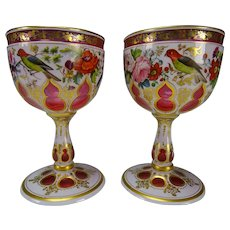 Antique Josephinenhutte Moser Hand Painted Enamel Cut to Cranberry Glass Wine Stem Pair