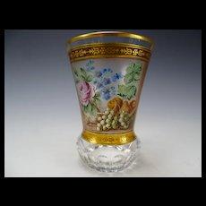 Antique Bohemian Hand Painted Enamel Glass Beaker Vase