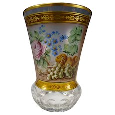 Antique Bohemian Hand Painted Enamel Glass Beaker Vase