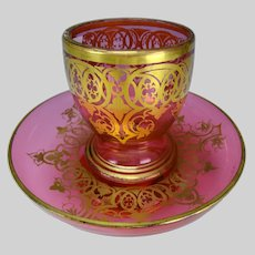 c1850 Antique Bohemian Czech Cranberry Glass Tumbler Bowl Insert