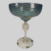 Antique Venetian Latticino Zanfirico Adventurine Wine Glass Stem