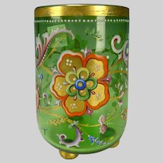 Antique Harrach Bohemian Hand Painted Enamel Footed Glass Vase
