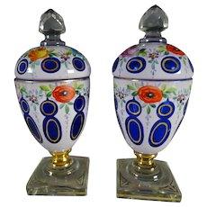 Antique Bohemian Moser Cased Enamel Painted Glass Lidded Urns Vases