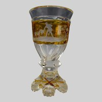 c1840 Biedermeier Engraved Bohemian Egermann Art Glass Goblet Wine