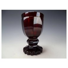 c1840 Antique Bohemian Biedermeier Heavy Ruby Glass Wine Goblet