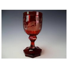 c1850 Antique Bohemian Engraved Stag Ruby to Clear Carved Wine Glass