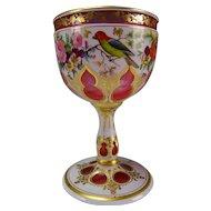 c1860 Moser Cased Cut to Cranberry Elegant Wine Glass Stem
