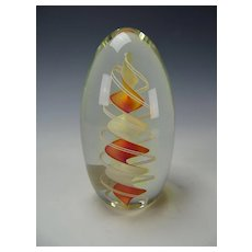 Fine Charles Wright Latticino Ribbon Art Glass Paperweight