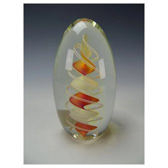 Fine Charles Wright Latticino Ribbon Art Glass Paperweight