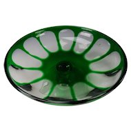 Antique Bohemian or Sandwich Glass Emerald Green Cut Overlay Glass Pedestal Low Bowl as is