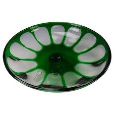 Antique Bohemian or Sandwich Glass Emerald Green Cut Overlay Glass Pedestal Low Bowl as is