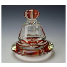 Charles Wright Signed Dated 94 Lampwork Art Glass Lidded Votive Jar