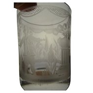 Antique Continental Engraved Glass Tumbler 18c