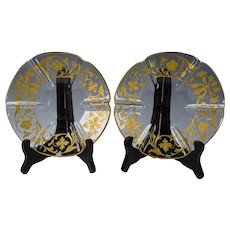 19c Antique Moser Enamel Gilded Art Glass Plates or Saucer Pair