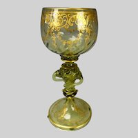 Fabulous Moser or Theriesenthal Gilt Swirled Snake Glass Goblet Wine Stem