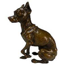 Fantastic Antique French Bronze Chihuahua Dog Sculpture