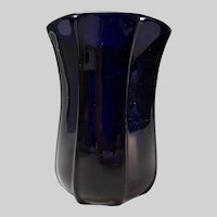 19c American New England Colored Rib Molded Glass Vase