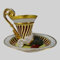 Antique Austrian Vienna Porcelain Cup and Saucer