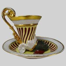 Antique Austrian Vienna Porcelain Cup and Saucer