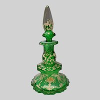 Antique Bohemian Cased and Cut Uranium Green Glass Perfume Bottle