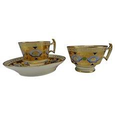 c1810 Antique English Derby Luster Gilt Porcelain Cup Saucer Trio