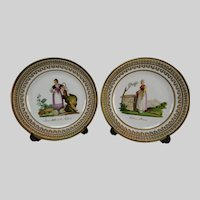 Antique Limoges or Old Paris Porcelain French Hand Painted Plates